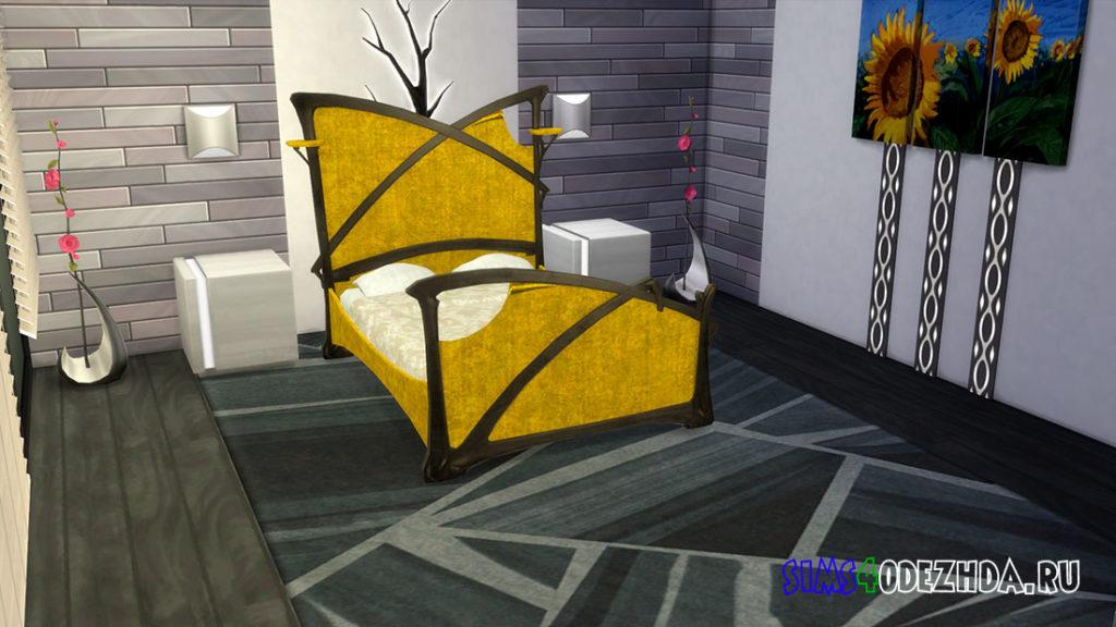 Двуспальная кровать в стиле модерн для Симс 4 – фото 3