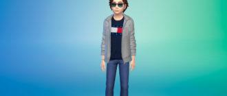 Флисовая куртка для детей для Симс 4 – фото 1