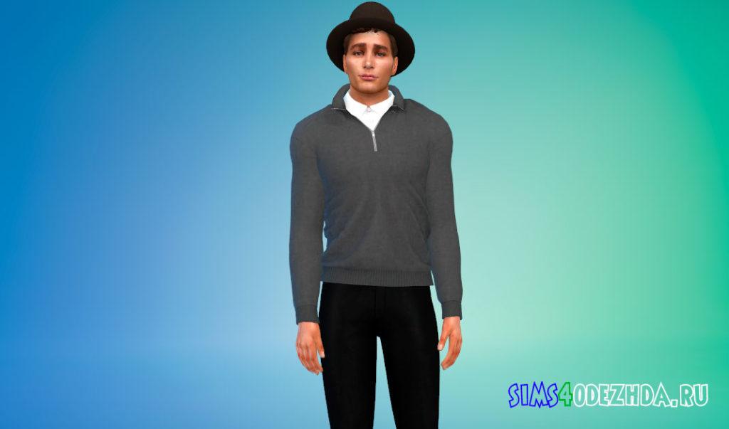 Кашемировый свитер с рубашкой для Симс 4 – фото 1