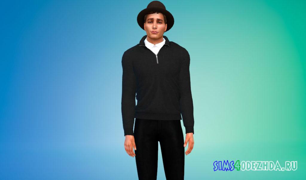 Кашемировый свитер с рубашкой для Симс 4 – фото 2