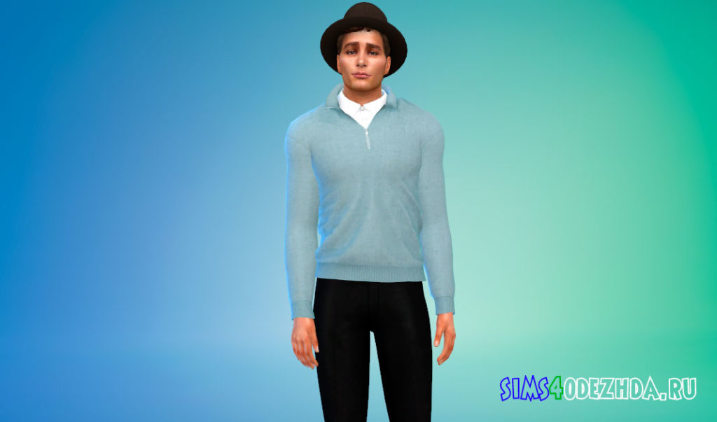 Кашемировый свитер с рубашкой для Симс 4 – фото 3