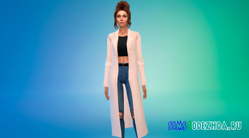 Классическое шерстяное пальто для Симс 4 - фото 1
