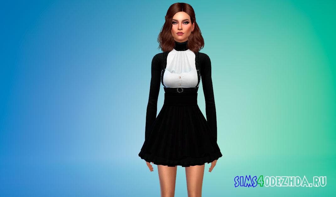 Короткое готическое платье для Симс 4 – фото 1