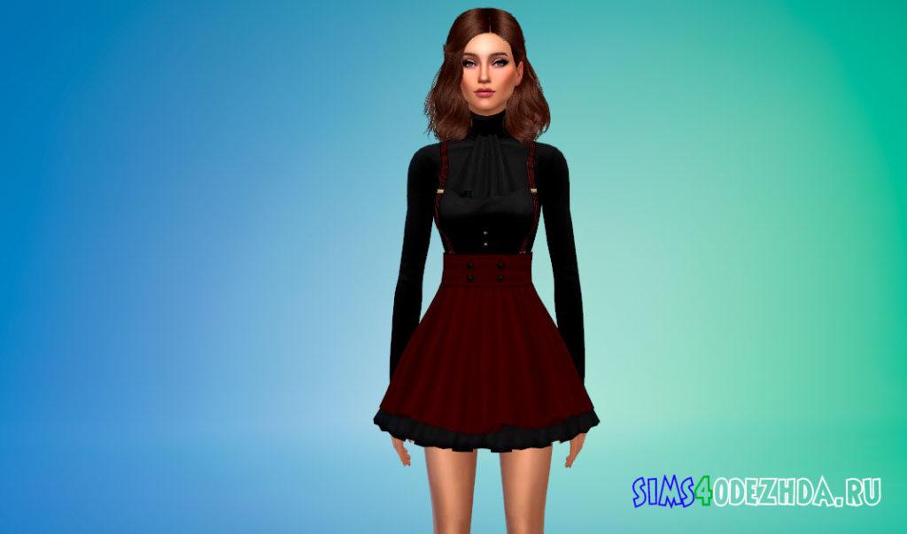 Короткое готическое платье для Симс 4 – фото 2