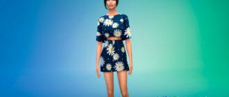 Короткое платье из двух частей для Симс 4 – фото 1