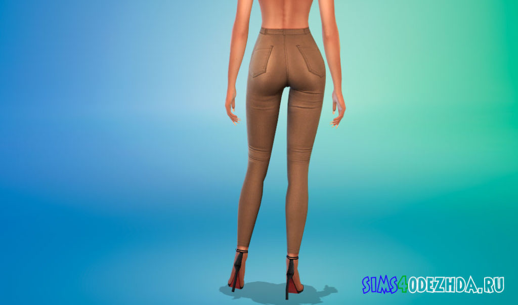 Кожаные брюки для девушек для Симс 4 – фото 3