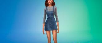 Красивое джинсовое платье-комбинезон для Симс 4 - фото 1