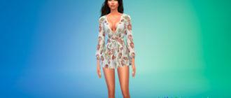Красивое мини-платье с узлом для Симс 4 – фото 1