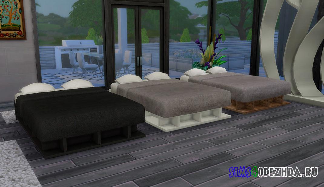 Кровать с отсеками для хранения для Симс 4 – фото