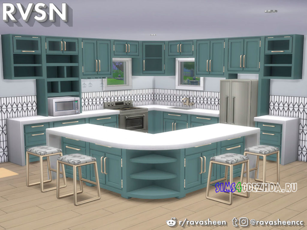 Кухня-Simmer-Down-Kitchen-Counter-Set-для-Симс-4-–-фото-1