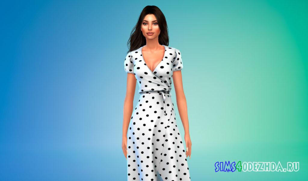 Легкое платье-миди для Симс 4 – фото 2