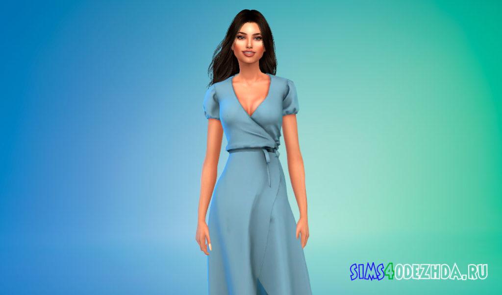 Легкое платье-миди для Симс 4 – фото 3