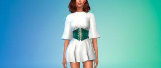 Мини-платье с корсетом для девушек для Симс 4 – фото 1