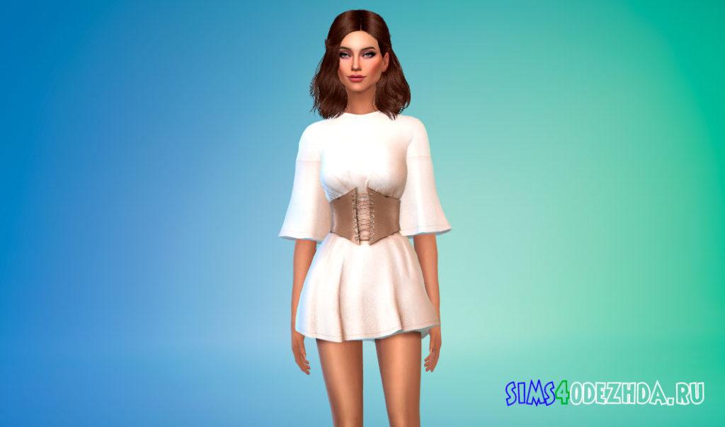 Мини-платье с корсетом для девушек для Симс 4 – фото 2