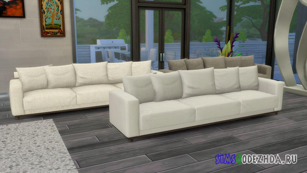 Мягкий 3-х местный диван для Симс 4 – фото
