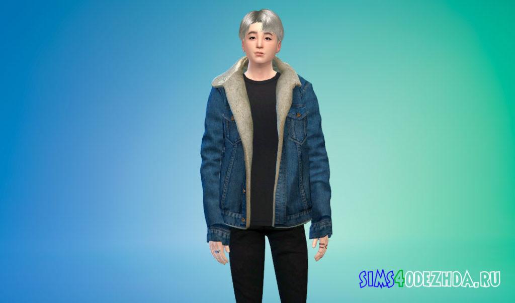 Мужская куртка с мехом для Симс 4 – фото 1