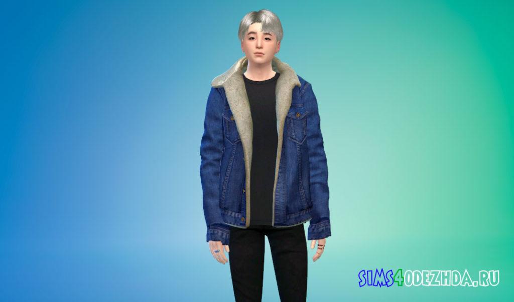 Мужская куртка с мехом для Симс 4 – фото 2