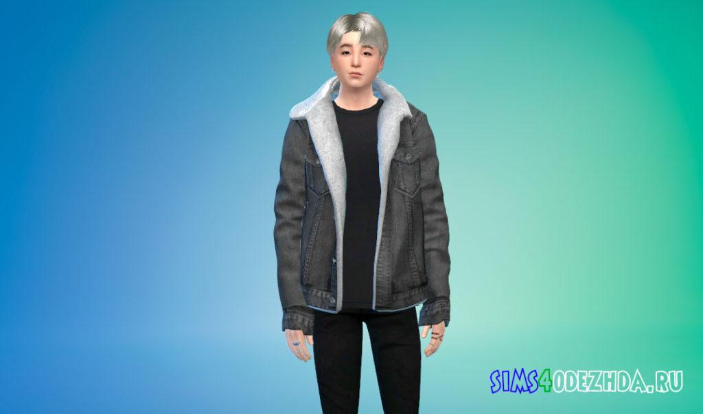 Мужская куртка с мехом для Симс 4 – фото 3