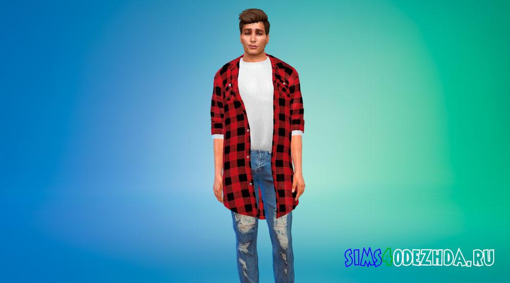 Мужские фланелевые рубашки для Симс 4 – фото 1