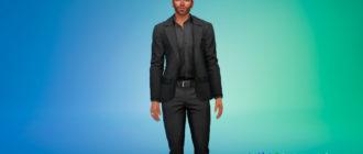 Мужской приталенный костюм для Симс 4 – фото 1