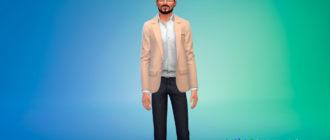Мужской расстегнутый пиджак для Симс 4 – фото 1