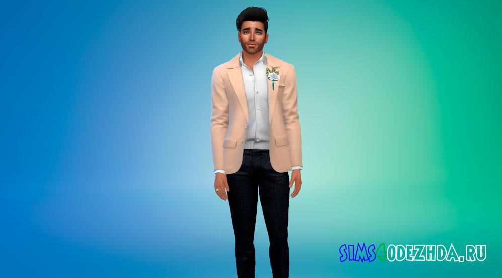 Открытый пиджак с бутоньеркой для Симс 4 – фото 1