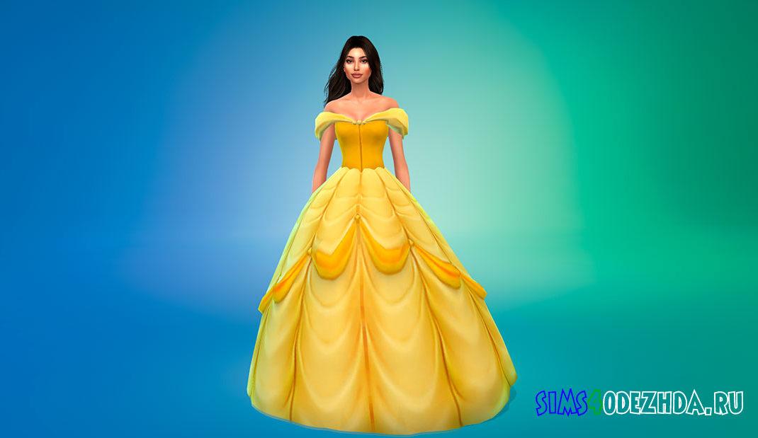 Платье принцессы Белль для Симс 4 – фото 1