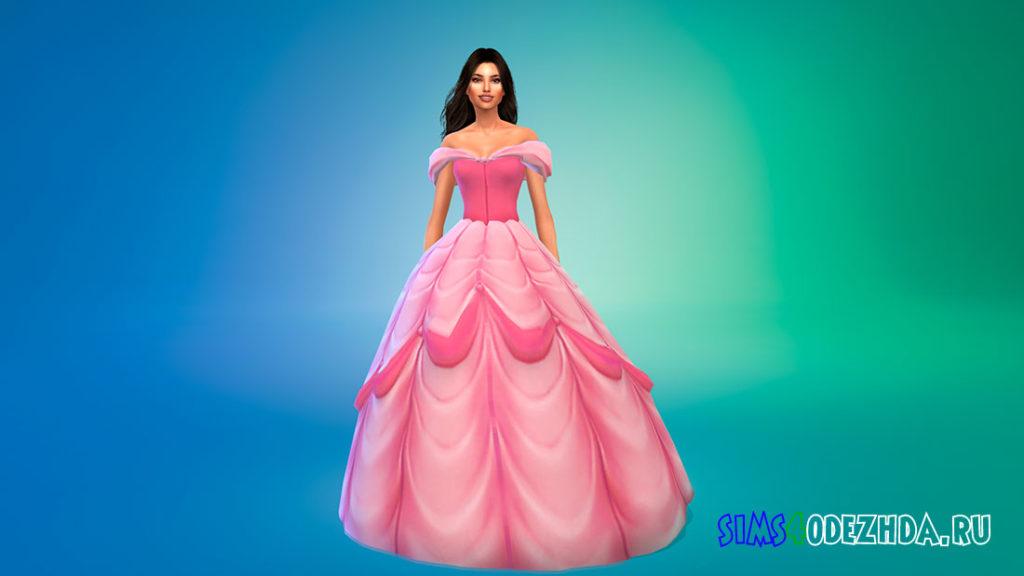 Платье принцессы Белль для Симс 4 – фото 2