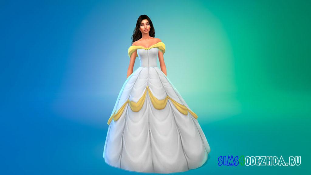 Платье принцессы Белль для Симс 4 – фото 3