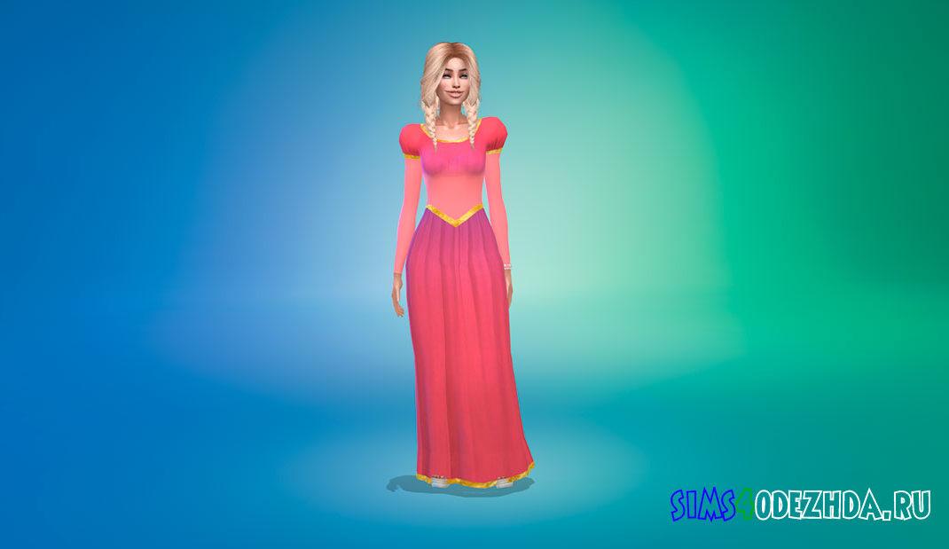 Платье Рапунцель для Симс 4 – фото 1