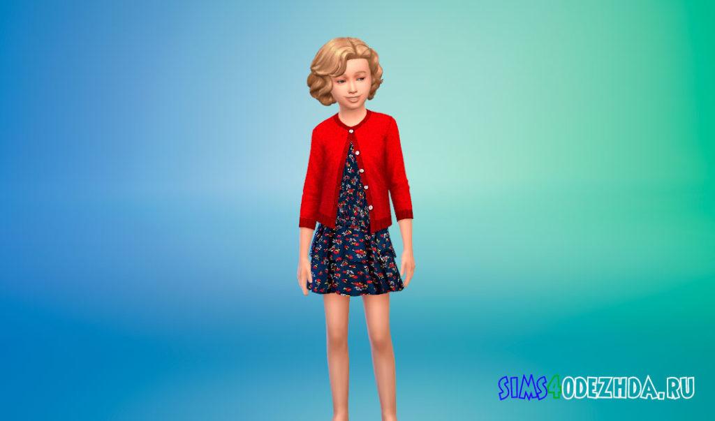 Платье с кардиганом для девочек для Симс 4 – фото 1