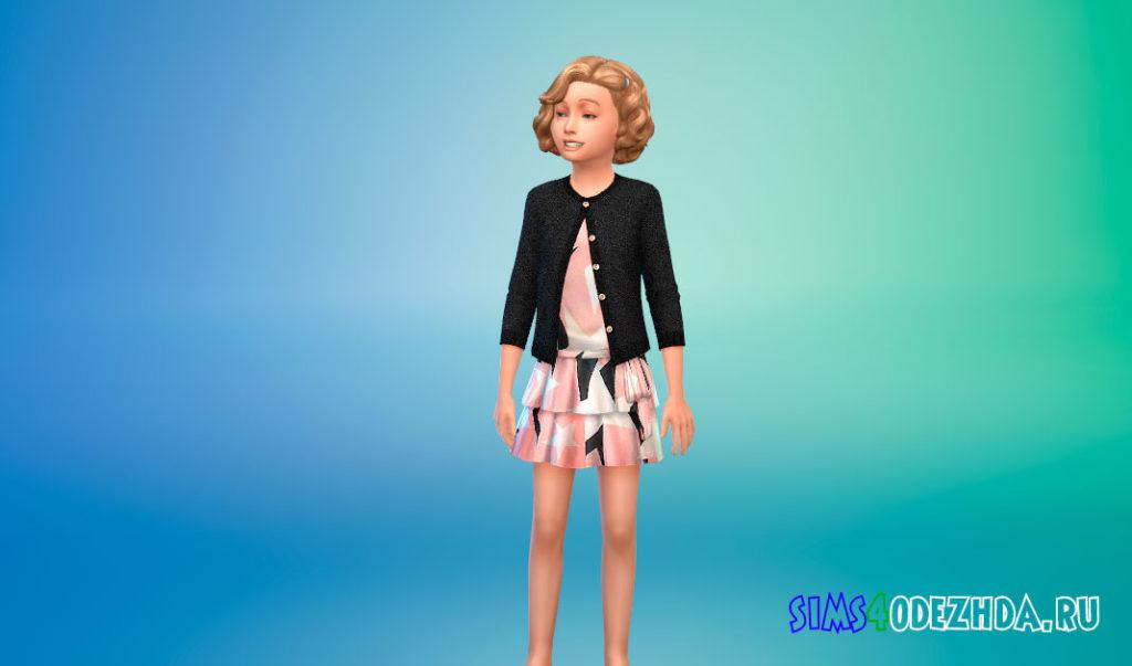 Платье с кардиганом для девочек для Симс 4 – фото 3