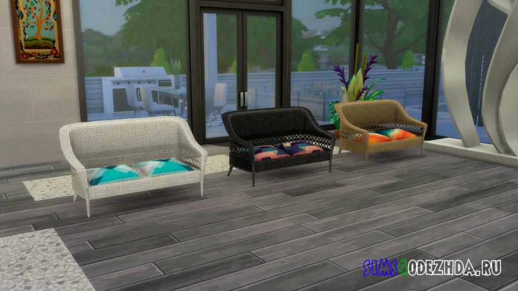 Плетеный диван для Симс 4 – фото