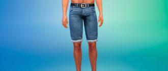 Пляжные джинсовые шорты для мужчин для Симс 4 – фото 1