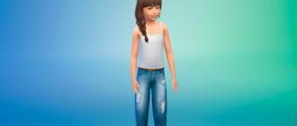 Повседневные джинсы для детей для Симс 4 – фото 1