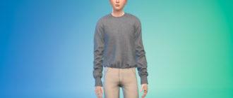 Простой заправленный шерстяной свитер для Симс 4 – фото 1