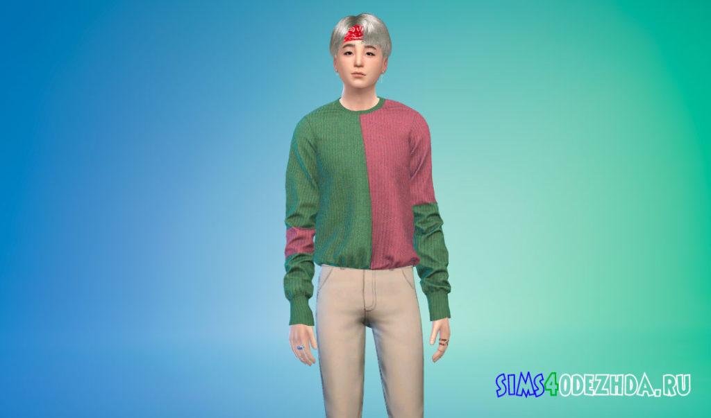 Простой заправленный шерстяной свитер для Симс 4 – фото 2
