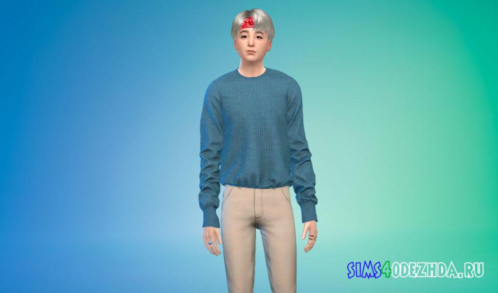 Простой заправленный шерстяной свитер для Симс 4 – фото 3