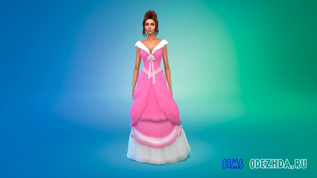 Розовое платье Золушки для Симс 4 – фото 1