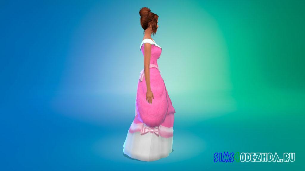 Розовое платье Золушки для Симс 4 – фото 2