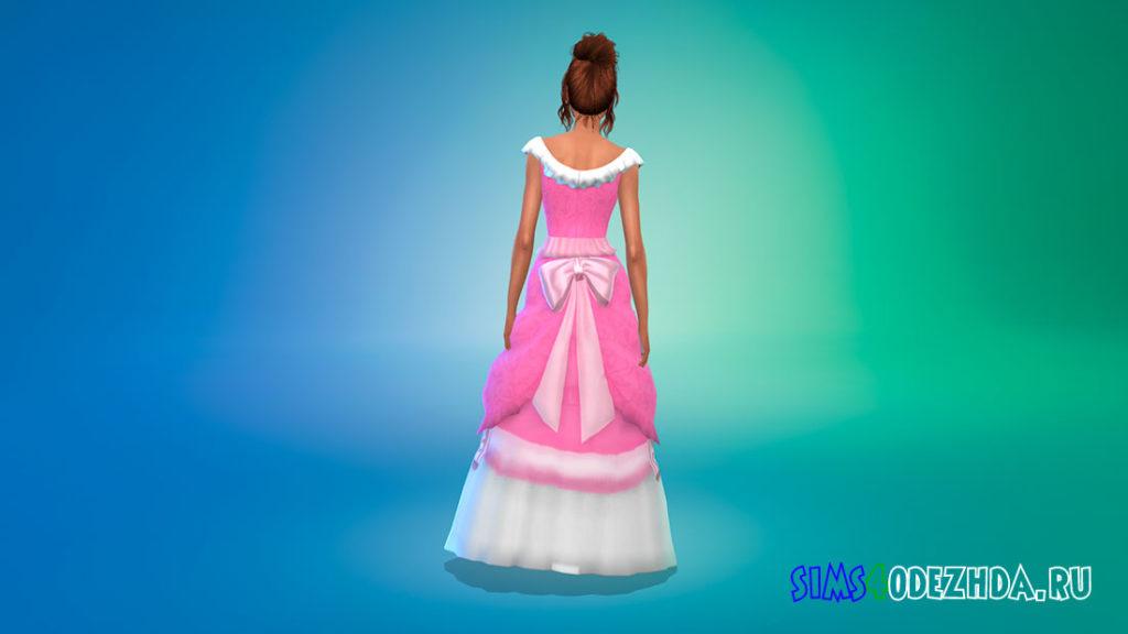 Розовое платье Золушки для Симс 4 – фото 3