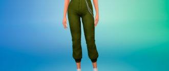 Спортивные брюки с завышенной талией и цепью для Симс 4 – фото 1