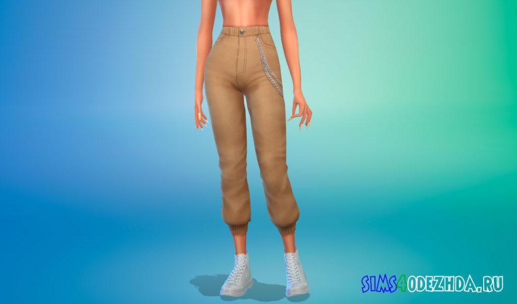Спортивные брюки с завышенной талией и цепью для Симс 4 – фото 2