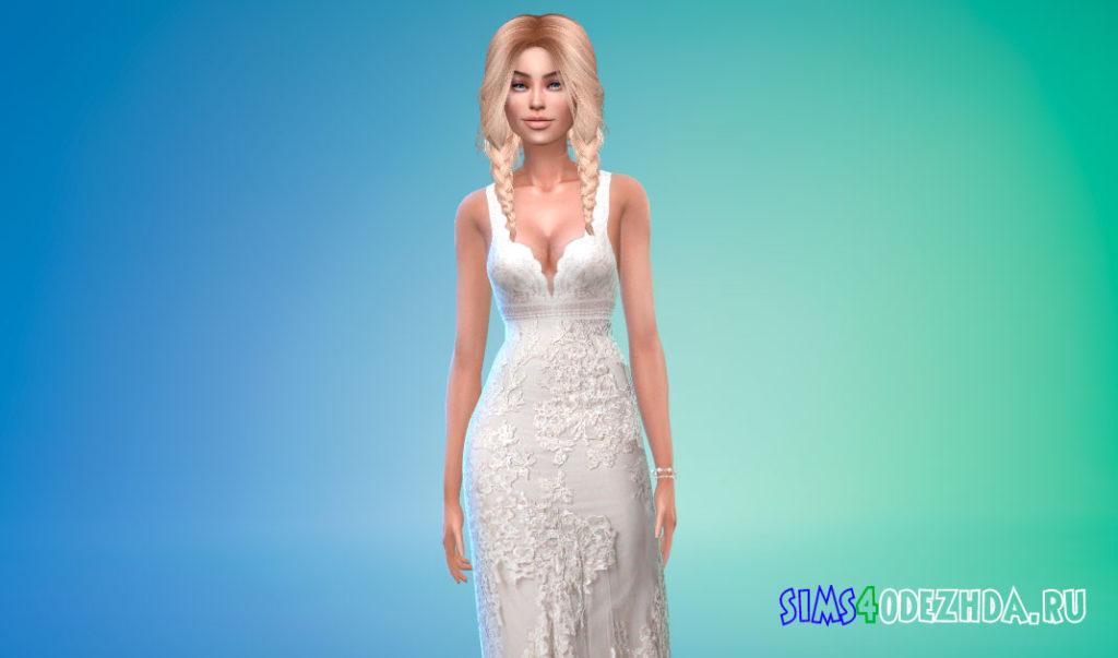 Свадебное платье без рукавов для Симс 4 – фото 1