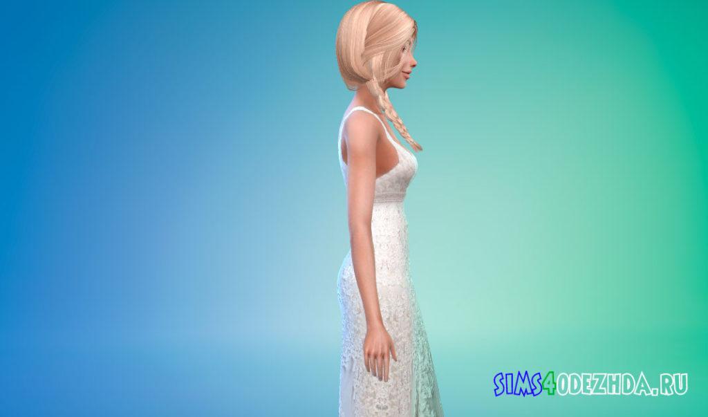 Свадебное платье без рукавов для Симс 4 – фото 2