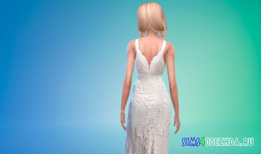 Свадебное платье без рукавов для Симс 4 – фото 3