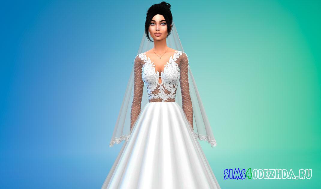 Свадебное платье с фатой для Симс 4 – фото 1