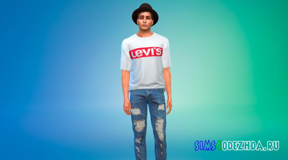 Свободная мужская футболка для Симс 4 - фото 1
