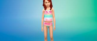 Танкини с забавным принтом для девочек для Симс 4 – фото 1