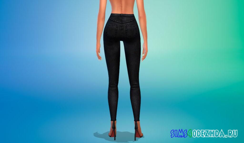 Темные джинсы с высокой талией для Симс 4 – фото 3